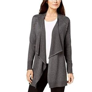 JM Collection Studded Open Front Cardigan Gray PXL